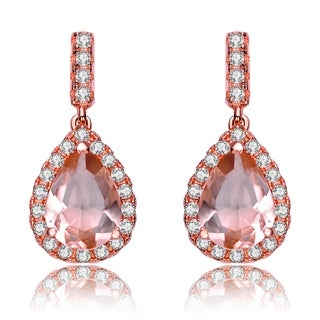 Collette Z Rose Gold Overlay Champagne Cubic Zirconia Earrings