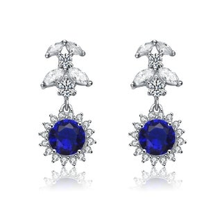 Collette Z Sterling Silver Cubic Zirconia Blue Sun Earrings