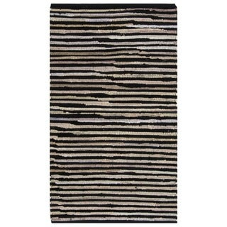Safavieh Hand-Woven Rag Cotton Rug Black/ Multicolored Cotton Rug (2' 6 x 4')