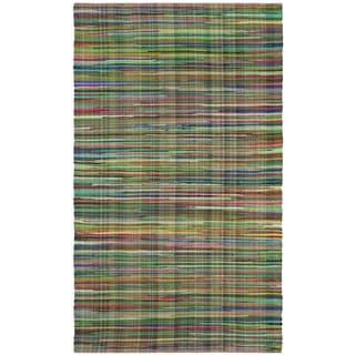 Safavieh Rag Cotton Rug Bohemian Handmade Green/ Multi Cotton Rug (2' 6 x 4')