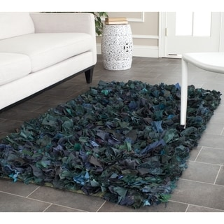 Safavieh Handmade Decorative Rio Shag Green/ Blue Runner (2'3 x 3'9)