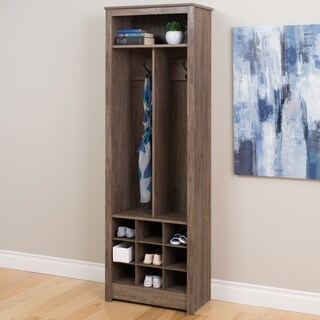 Space-Saving Driftwood Grey Entryway Organizer with Shoe Storage
