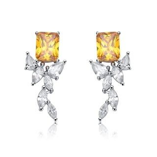 Collette Z Sterling Silver Yellow Cubic Zirconia Square Trail Earrings