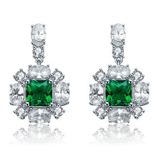 Collette Z Sterling Silver Cubic Zirconia Green Snowflake Earrings