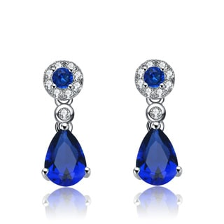 Collette Z Sterling Silver Blue Cubic Zirconia Dress Earrings