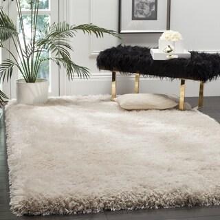 Safavieh Handmade Luxe Shag Super Plush Bone Polyester Rug (2' x 3')