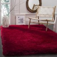 Safavieh Handmade Luxe Shag Super Plush Red Polyester Rug - 2' x 3'