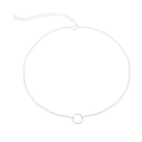 La Preciosa Sterling Silver, Gold Plated, or Rose Gold Plated Double Strand Circle of life 12+3'' Choker