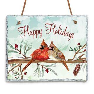 Happy Holidays Multicolored Stone Wall Slate