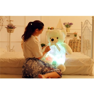 Teddy Bear White Color-changing LED Plush Pillow