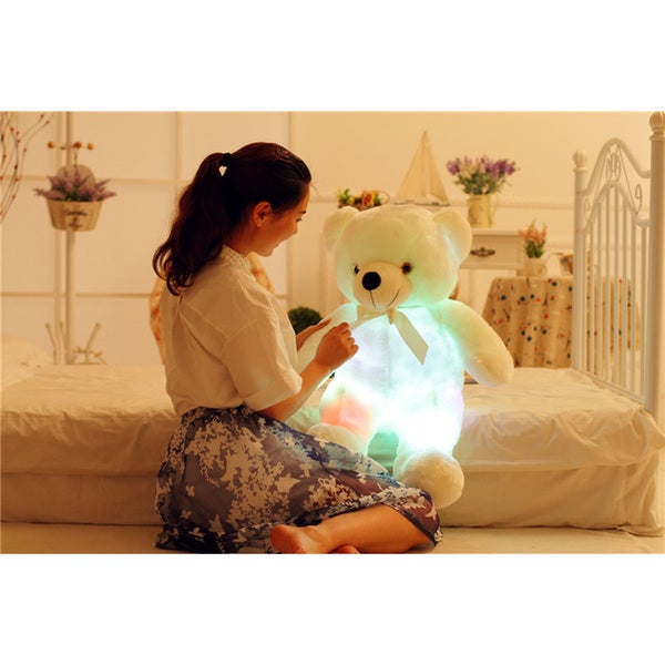 Shop Teddy Bear White Color Changing Led Plush Pillow