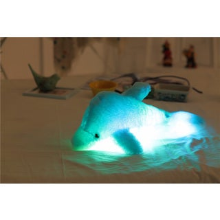Sky Blue Dolphin Color Changing LED Plush Pillow