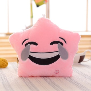 Pink Tears of Joy Color Changing LED Plush Emoji Pillow