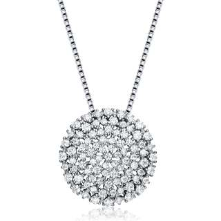 Collette Z Sterling Silver Cubic Zirconia Pave Circle Necklace