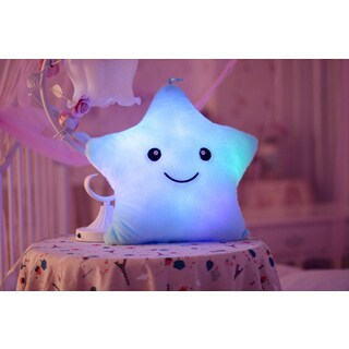 The Illuminator Blue Star Color-changing LED Light-up Plush Pillow