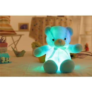 Teddy Bear Blue Cotton Color-changing LED Plush Pillow