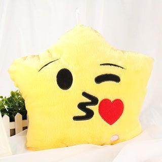 Kiss Emoji Yellow Cotton Color-changing LED Plush Pillow