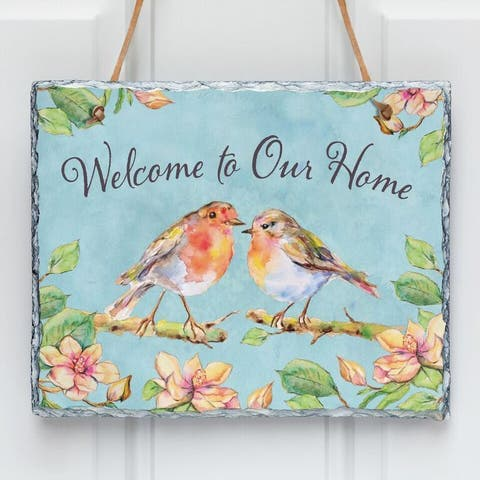 'Welcome to Our Home' Multicolor Stone Wall Slate