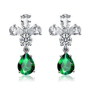 Collette Z Sterling Silver Green Cubic Zirconia Cross Drop Earrings