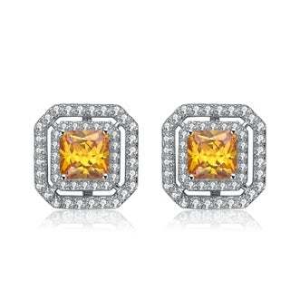 Collette Z Sterling Silver Yellow Cubic Zirconia Button Earrings