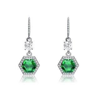 Collette Z Sterling Silver Green Cubic Zirconia Hexagon Earrings