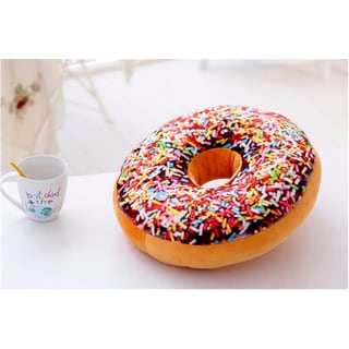 Donut Replica Rainbow Icing Sugar 16-inch Plush Decorative Pillow