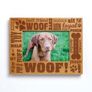 'Dog Words' Brown Wood Photo Frame