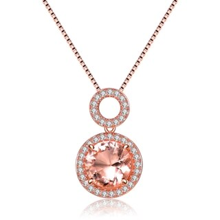 Collette Z Rose Gold Overlay Champagne Cubic Zirconia Double O Necklace