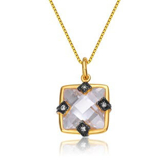 Collette Z Gold Overlay Cubic Zirconia Fashionable Necklace
