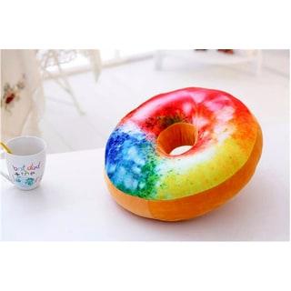 Multicolored Cotton Rainbow Cake 16-inch Plush Donut Pillow