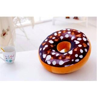 Plush Donut Replica Classic Chocolate 16-inch Decorative Pillow