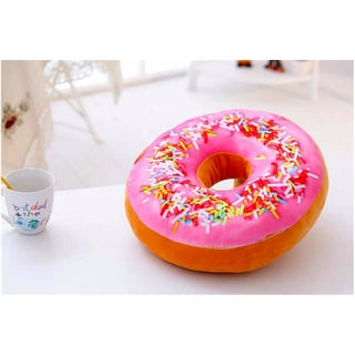 Plush Pink Icing Sugar Cotton 16-inch Donut Replica Decorative Pillow