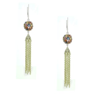 One-of-a-kind Michael Valitutti Palladium Silver Blue Green Orange Yellow Pink Multi Sapphire Earrings