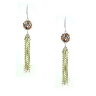 One-of-a-kind Michael Valitutti Palladium Silver Blue Green Orange Yellow Pink Multi Sapphire Earrings