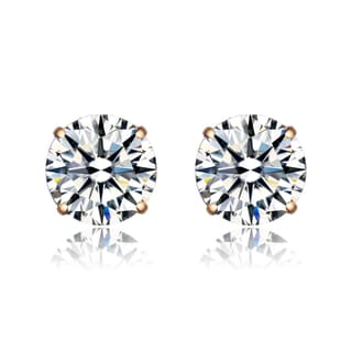 Collette Z Gold Overlay Cubic Zirconia Round Solitaire Earrings