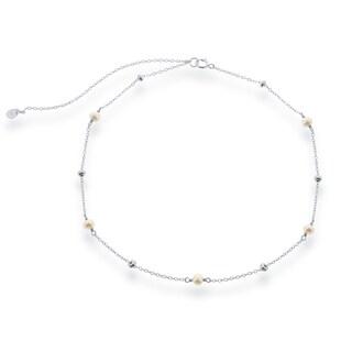 La Preciosa Sterling Silver Freshwater Pearl and Bead Choker