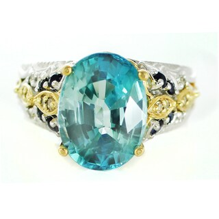 One-of-a-kind Michael Valitutti Blue Zircon and Blue Sapphire with Diamonds Ring