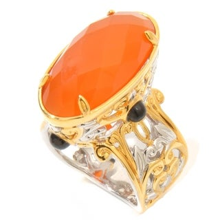 One-of-a-kind Michael Valitutti Palladium Silver Carnelian and Black Spinel Ring
