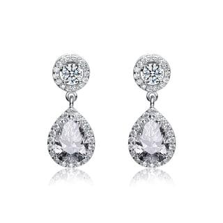 Collette Z Sterling Silver Cubic Zirconia Pear Drop Earrings