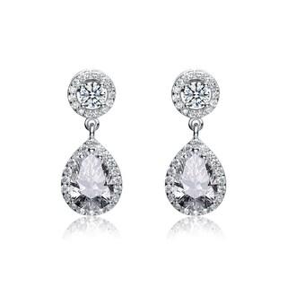 Collette Z Sterling Silver Cubic Zirconia Pear Drop Earrings - White