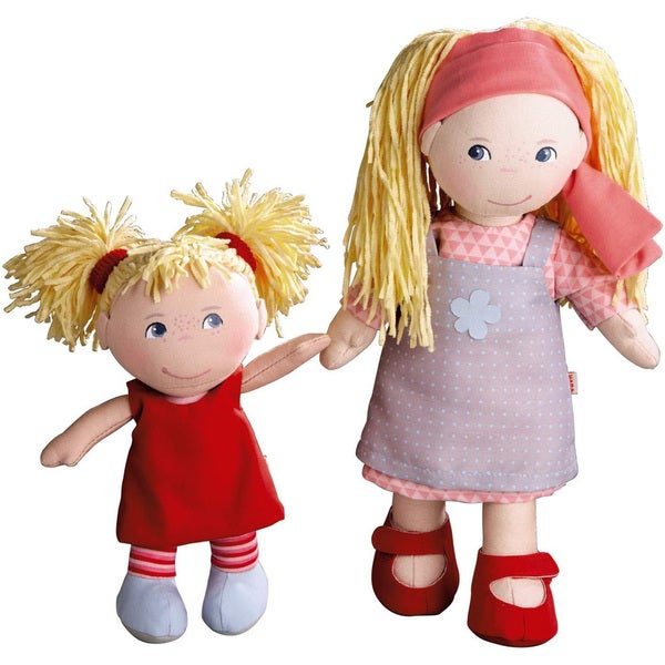 Haba Lennja and Elin Fabric 12-inch and 8-inch Sister Dolls