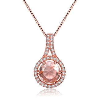Collette Z Rose Gold Overlay Champagne Cubic Zirconia Necklace