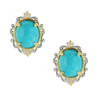 One-of-a-kind Michael Valitutti Palladium Silver Sleeping Beauty Turquoise Stud Earrings