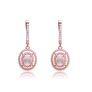 Collette Z Rose Gold Overlay Frosty Cubic Zirconia Earrings