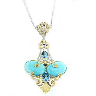 One-of-a-kind Michael Valitutti Howlite Swiss Blue Topaz and Blue Sapphire Pendant