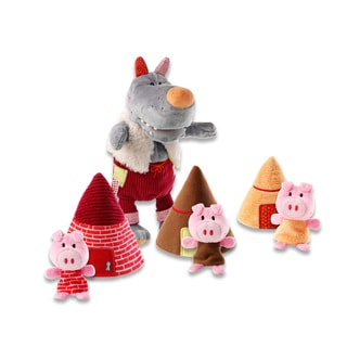 Lilliputiens Wolf and 3 Little Pigs Fabric Hand and Finger Puppet Set