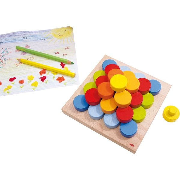 Haba Wood Color Buttons Pegging Game