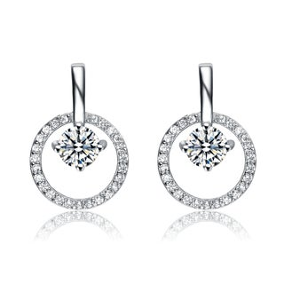 Collette Z Sterling Silver Cubic Zirconia Suspended Stone Earrings