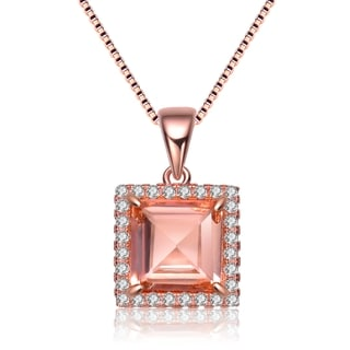 Collette Z Rose Gold Overlay Champagne Cubic Zirconia Square Necklace
