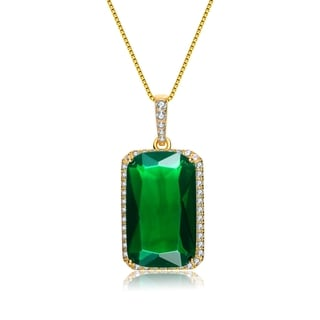 Collette Z Gold Overlay Green Cubic Zirconia Solitaire Necklace